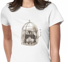 Baby Owl Sitting In a Birdcage Womens Fitted T-Shirt
