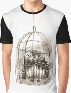 Baby Owl Sitting In a Birdcage Graphic T-Shirt