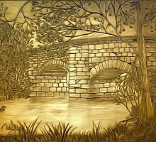 A sepia painting of my pencil drawing of Fingle Bridge, an Old Stone Packhorse Bridge in Dartmoor  by Dennis Melling