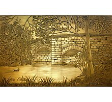 A sepia painting of my pencil drawing of Fingle Bridge, an Old Stone Packhorse Bridge in Dartmoor  Photographic Print