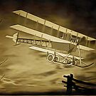 An old style digital painting of an AVRo Triplane 1910 by Dennis Melling
