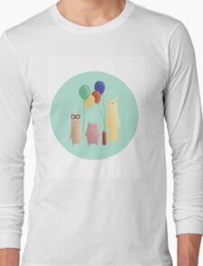 Kittens and their balloons Long Sleeve T-Shirt
