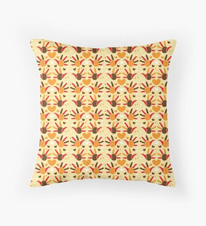 Thanksgiving hands and hearts pattern Throw Pillow