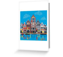 Amsterdam canal and houses Greeting Card