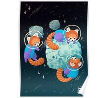 Red Space Pandas Poster
