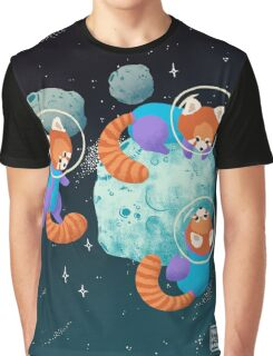 Red Space Pandas Graphic T-Shirt