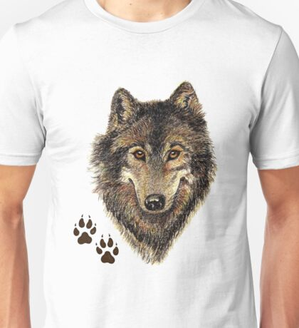 Watercolor Wolf Head Logo & Tracks Unisex T-Shirt