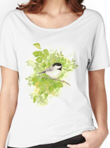 Cute Little Black-Capped Chickadee Watercolor Women's Relaxed Fit T-Shirt