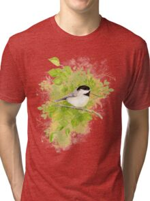 Cute Little Black-Capped Chickadee Watercolor Tri-blend T-Shirt