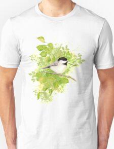 Cute Little Black-Capped Chickadee Watercolor Unisex T-Shirt