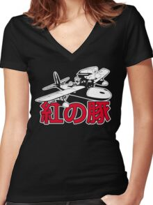 Red Pig Women's Fitted V-Neck T-Shirt
