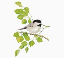 Watercolor Chickadee Bird in Poplar Tree Kids Tee