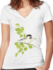 Watercolor Chickadee Bird in Poplar Tree Women's Fitted V-Neck T-Shirt