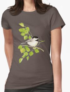 Watercolor Chickadee Bird in Poplar Tree Womens Fitted T-Shirt