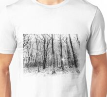 Monochrome Snow Forest Art Unisex T-Shirt