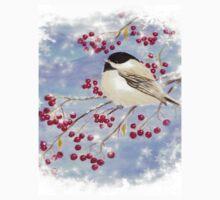 Watercolor Chickadee Bird Winter Berries Kids Tee