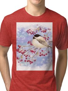 Watercolor Chickadee Bird Winter Berries Tri-blend T-Shirt