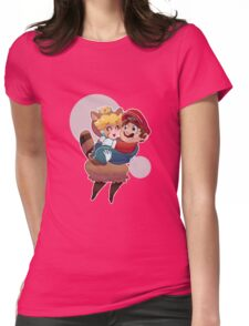 Tanooki Peach and Mario Womens Fitted T-Shirt