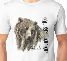 Watercolor Grizzly Bear Tracks Animal art Unisex T-Shirt