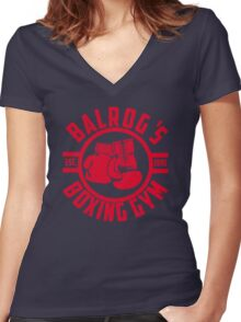 Balrog's boxing gym Women's Fitted V-Neck T-Shirt