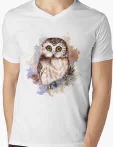 Watercolor Cute Owl Bird Mens V-Neck T-Shirt