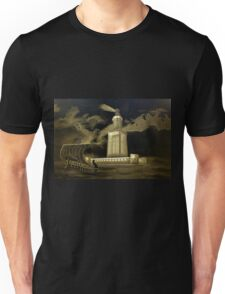 A digital painting, in old print style, of Pharos Lighthouse Unisex T-Shirt
