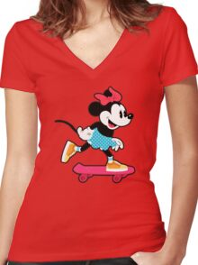 Minnie Mouse Skate Women's Fitted V-Neck T-Shirt