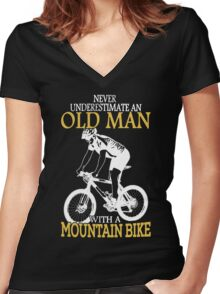 Never Underestimate An Old Man With A Mountain Bike Women's Fitted V-Neck T-Shirt