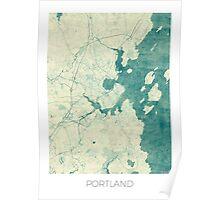 Portland Maine Map Blue Vintage Poster