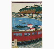 Kunisada Utagawa - First Steam Train Leaving Yokohama 3 - 1872 - Woodcut Kids Tee