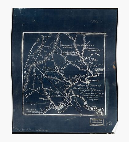 179 Map of part of the great Flat-top coal-field of Va W Va showing location of Pocahontas Bluestone collieries May 1886 Inverted Poster