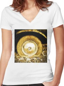 Vintage old wheel of classic car Women's Fitted V-Neck T-Shirt