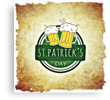 Happy Saint Patrick's day beer card Canvas Print