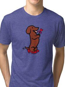 Mom's Dachshund Little Heart Tri-blend T-Shirt