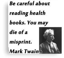 Health Books Mark Twain Canvas Print