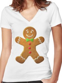 Gingerbread man Women's Fitted V-Neck T-Shirt