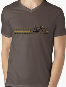 Bike Stripes Yellow/Black - Chain Mens V-Neck T-Shirt