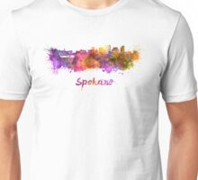 Spokane skyline in watercolor  Unisex T-Shirt