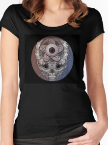 psychedelic face eye circle Women's Fitted Scoop T-Shirt