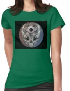 psychedelic face eye circle Womens Fitted T-Shirt