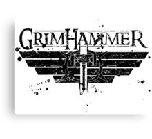 GrimHammer Logo With Text Grunged Black Canvas Print
