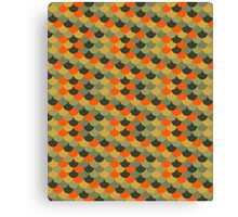 Orange & Green Fish Scale Pattern Canvas Print