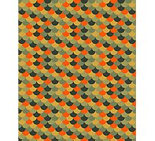 Orange & Green Fish Scale Pattern Photographic Print