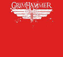 GrimHammer Logo With Text Grunged White Unisex T-Shirt