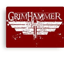 GrimHammer Logo With Text Grunged White Canvas Print