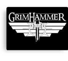 GrimHammer Logo With Text White Canvas Print