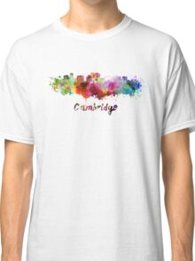 Cambridge MA skyline in watercolor Classic T-Shirt