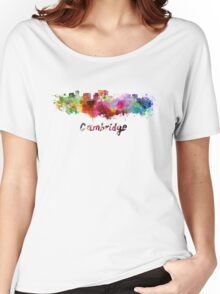 Cambridge MA skyline in watercolor Women's Relaxed Fit T-Shirt