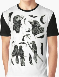 Black and White Bird Pattern Graphic T-Shirt