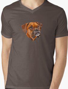 Boxer Pup Art Portrait Mens V-Neck T-Shirt